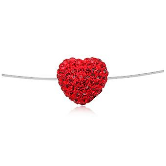 Invisible Nylon Heart Necklace in Crystal Red and Silver 925