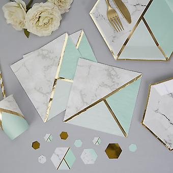Marble Paper Party Napkin Mint x 16