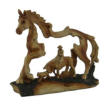 The Wrangler Cowboy In Horse Faux Carved Wood Openwork Statue