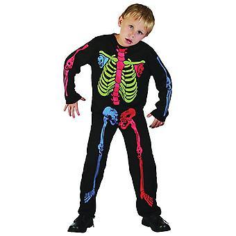 Bnov Skelett Boy Kostüm bunten Knochen