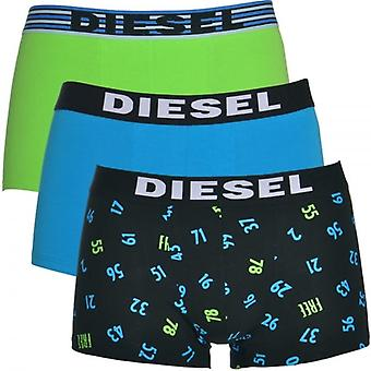 Diesel 3-Pack Boxer Trunk UMBX-Shawn, Green / Blue / Number Print, X-Large