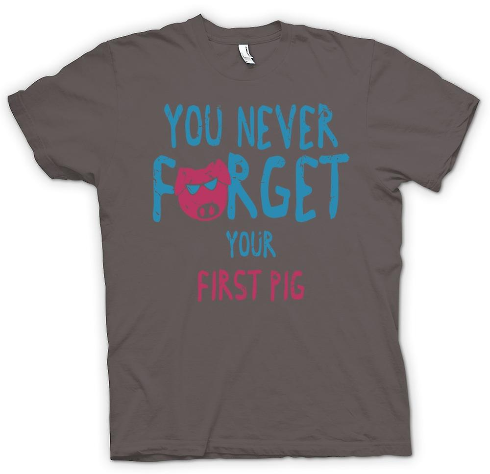 Womens T-shirt - You Never Forget Your First Pig - Funny Crude