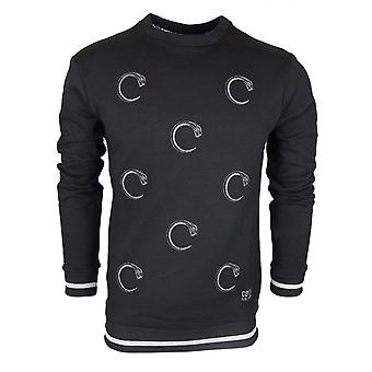 Cavalli Class Cotton Jersey Snake Logo All Over Black Light Sweatshirt