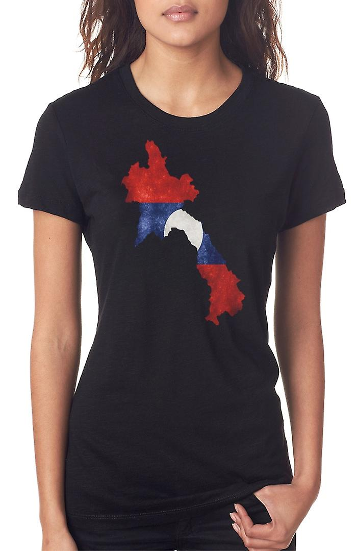 Laos Laotion flagga karta damer T Shirt