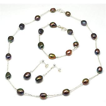 Toc Freshwater Cultured Black-Multi Pearl Necklace Bracelet and Earring Set