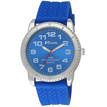 Ravel Gents Analogue Large Black Dial Blue Silicone Strap Watch R5-20.6G