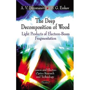 The Deep Decomposition of Wood: Light Products of Electron-Beam Fragmentation