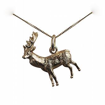 9ct Gold 23x25mm solid Stag Pendant with a curb Chain 20 inches
