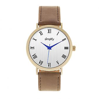 Simplify The 2900 Leather-Band Watch - Gold/Brown