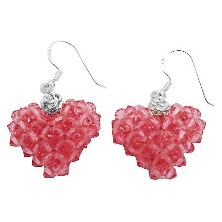 Holiday Gift To Your Luv One Puffy Heart Crystal Sterling Earrings