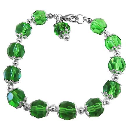Green Simulated Crystal Balls Beads Bracelet w/ Bead Dangling