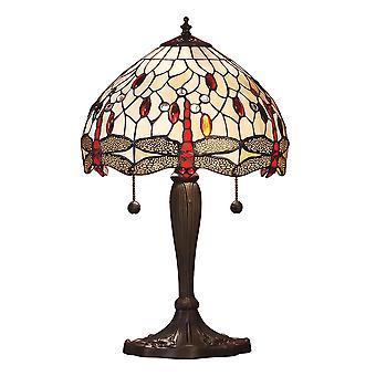Lámpara de mesa Beige de pequeño estilo Tiffany libélula - interiores 1900 64086
