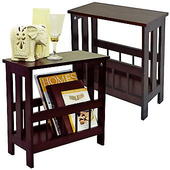 Mission - Pack Of Two - Solid Wood Sofa Side Table / Magazine Storage - Mahogany