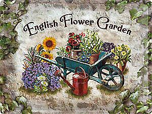 English Flower Garden large embossed steel sign  (NA3040)