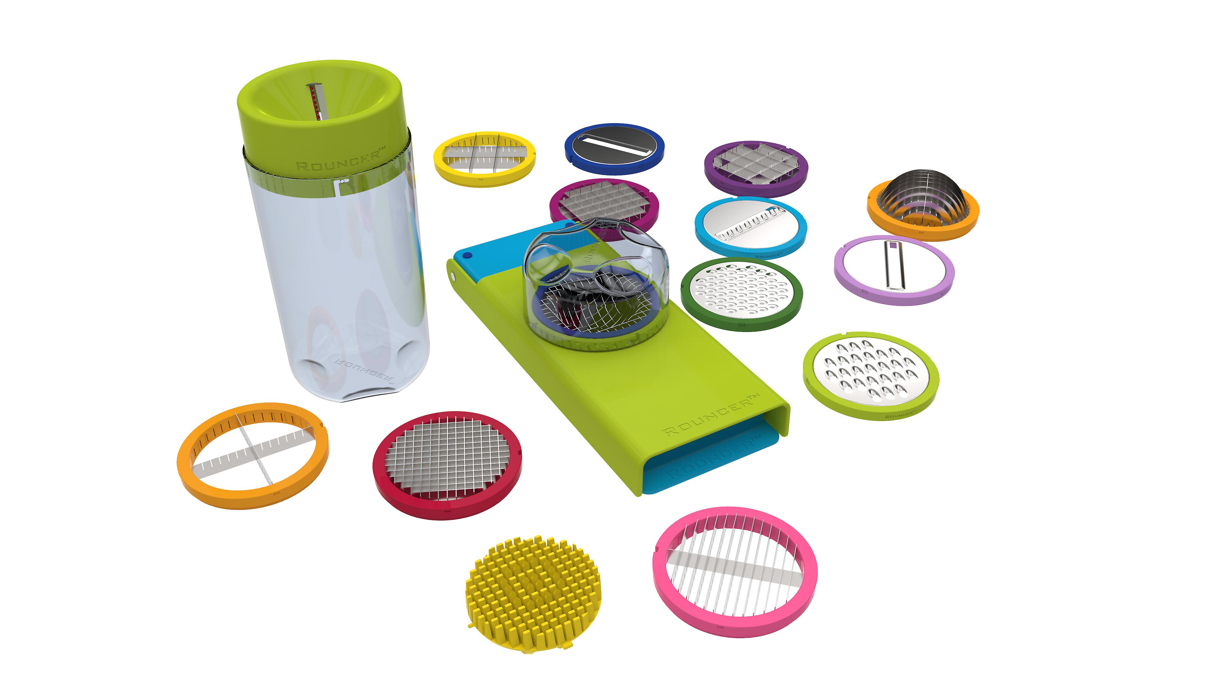Rouncer Autumn Lemon - No Peeling 5 Seconds Onion Dicer Chopper 17 Blades Apple Corer Peeler Grater Mandoline Slicer Herb and Spiral Cutter