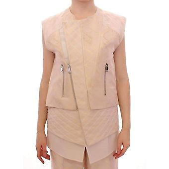 Zeyneptosum Beige Brocade Sleeveless Jacket -- MOM1820549