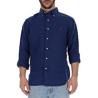 قميص رالف لورين الأزرق الكتان