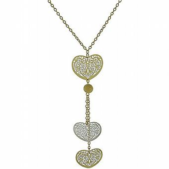 "Park Lane Ladies Two Tone Triple Heart Pendant on 18"" Goldtone Chain"