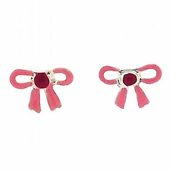 TOC Girls Sterling Silver Pink Bow Stud Earrings