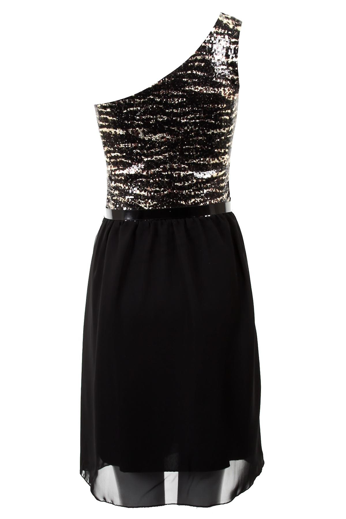 Ladies One Shoulder Evening Sequin Chiffon Belted Womens Party Dress