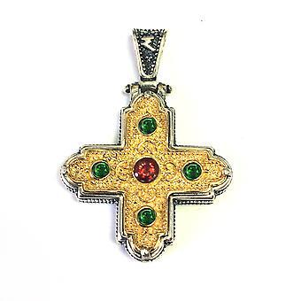 Cruz colgante de plata de Ley 18 quilates oro recubierto estilo bizantino