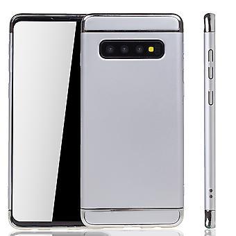 Samsung Galaxy S10 Plus Handy Hülle Schutz Case Bumper Hard Cover Silber