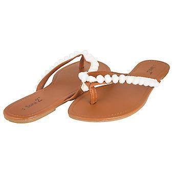Sara Z Ladies Pom Pom Thong Sandal