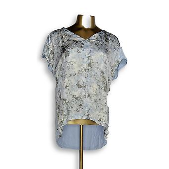 H par Halston Women-apos;s Top XXS Printed V-Neck w/ Jersey Knit Back Blue A274543
