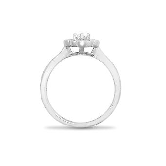 Jewelco London Solid 18ct White Gold Claw Set Round G SI1 0.4ct Diamond Bead Edge Square Cluster Ring 8mm