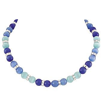 Eternal Collection Vaudeville Blue Multi Cat's Eye Silver Tone Beaded Necklace