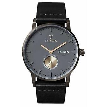 Triwa Mens Falken Black Leather Strap Grey Dial FAST102-CL010113 Watch