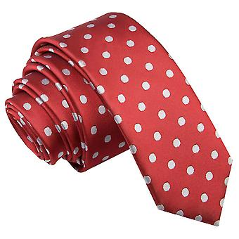 Men's Polka Dot Dark Red Skinny Tie