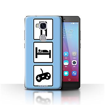 STUFF4 Case/Cover for Huawei Honor 5X/GR5/Game/Gaming/Blue/Eat/Sleep