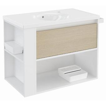 Bath+ 1 Drawer Cabinet + Shelf With Porcelain Basin Oak-White-White 80