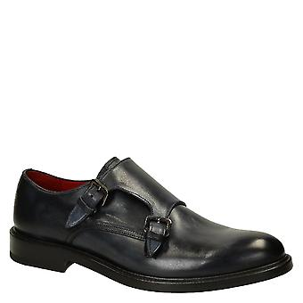 Bleu delavé calf leather men's double monk strap loafers shoes