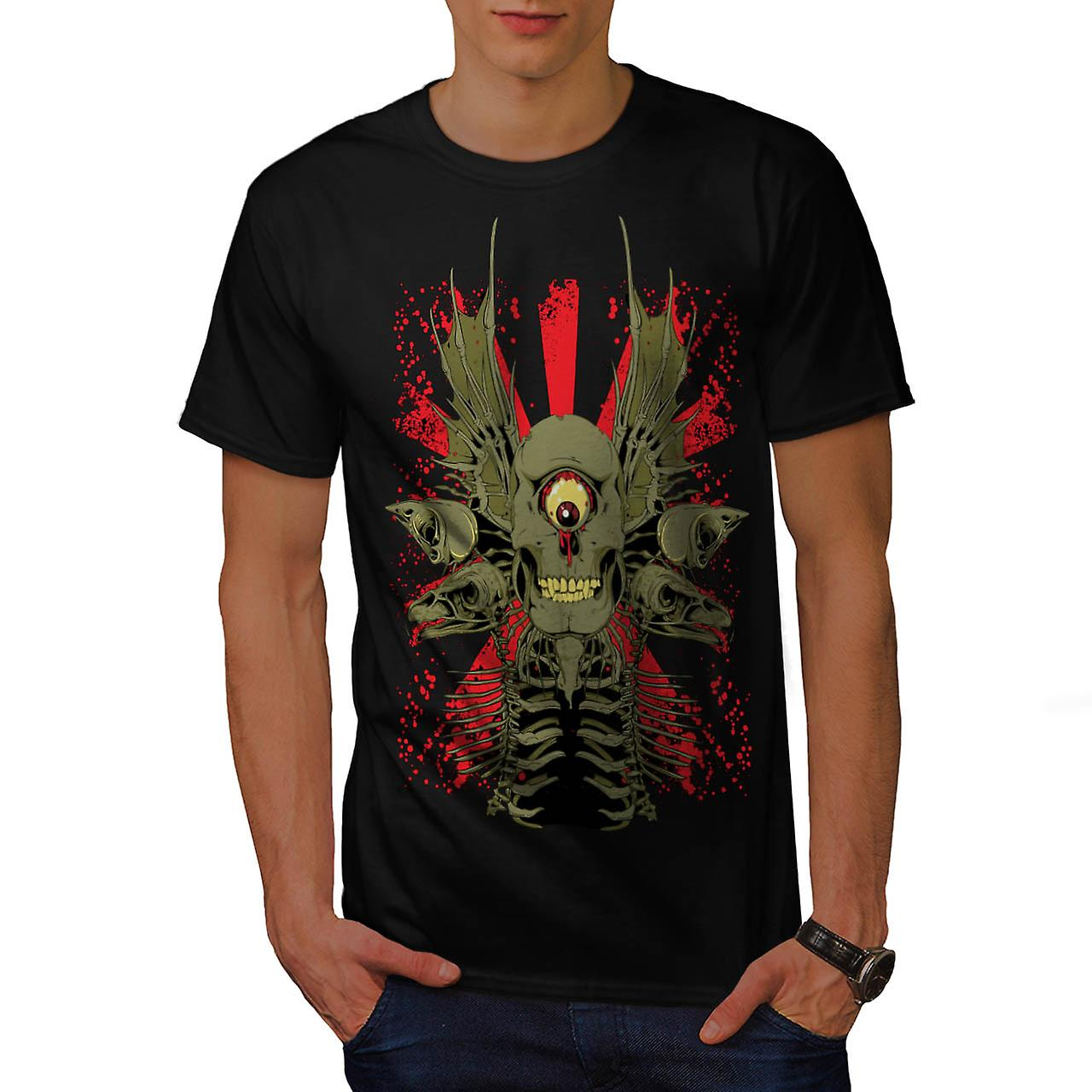 Scary Evil Cyclops Horror Skull Men Black T-shirt | Wellcoda