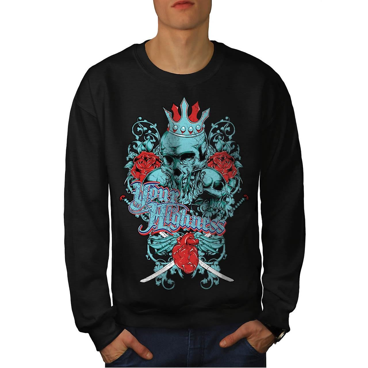 Your Highness Horror Heart Break Men Black Sweatshirt | Wellcoda