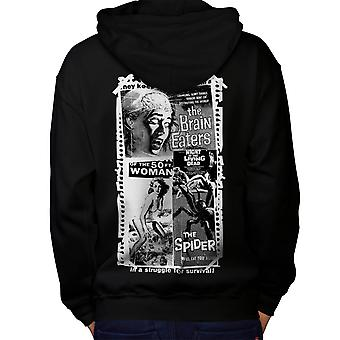 Vintage Horror Film Evil Movie Men Black Hoodie Back | Wellcoda
