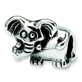 Sterling Silver Polished Antique finish Reflections Kids Elephant Bead Charm