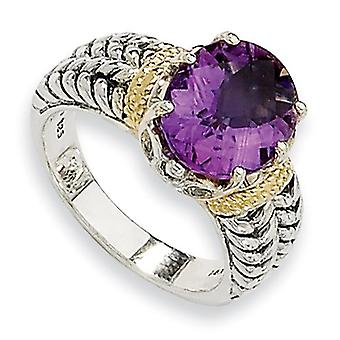Sterling Silver Antique finish With 14k 3.30Amethyst Ring - Ring Size: 6 to 8