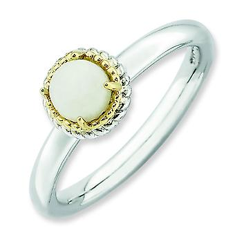 2.25mm Sterling Silver and 14k Stackable Expressions White Agate Polished Ring - Ring Size: 5 to 10
