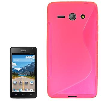 Cell phone cover silicone case (S-curve) for mobile Huawei Ascend Y530 pink transparent