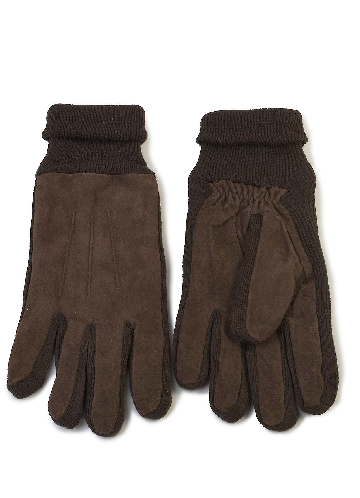 Mens Kieron Knit and Suede Gloves in Brown