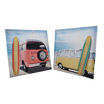 Surf Van przez zestaw drukowania 3D Canvas kawałek plaży 2