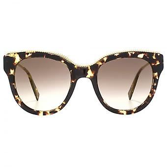 Marc Jacobs Metall Twist Tempel Detail Cateye Sonnenbrillen In dunklen Havanna