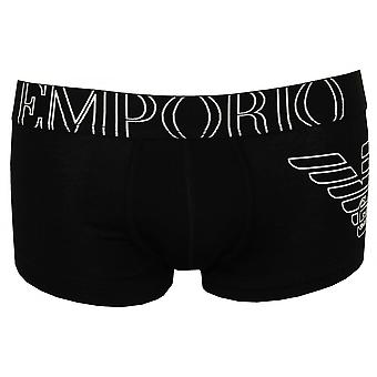 Emporio Armani Large GA Eagle Side Logo Boxer Trunk, Black
