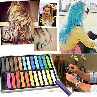 Boolavard® TM 24 Non-Toxic Temporary Hair Pastel Chalk Beauty Kit - Mix Colour Variety Beauty Design