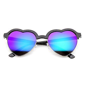 Womens halb randlose Flash-Spiegel herzförmige Sonnenbrille