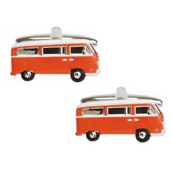 Zennor Camper Van Cufflinks - Orange/silver