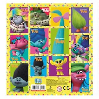 LARGE SQUARE SHEET OF TROLLS STICKER SHEET YELLOW